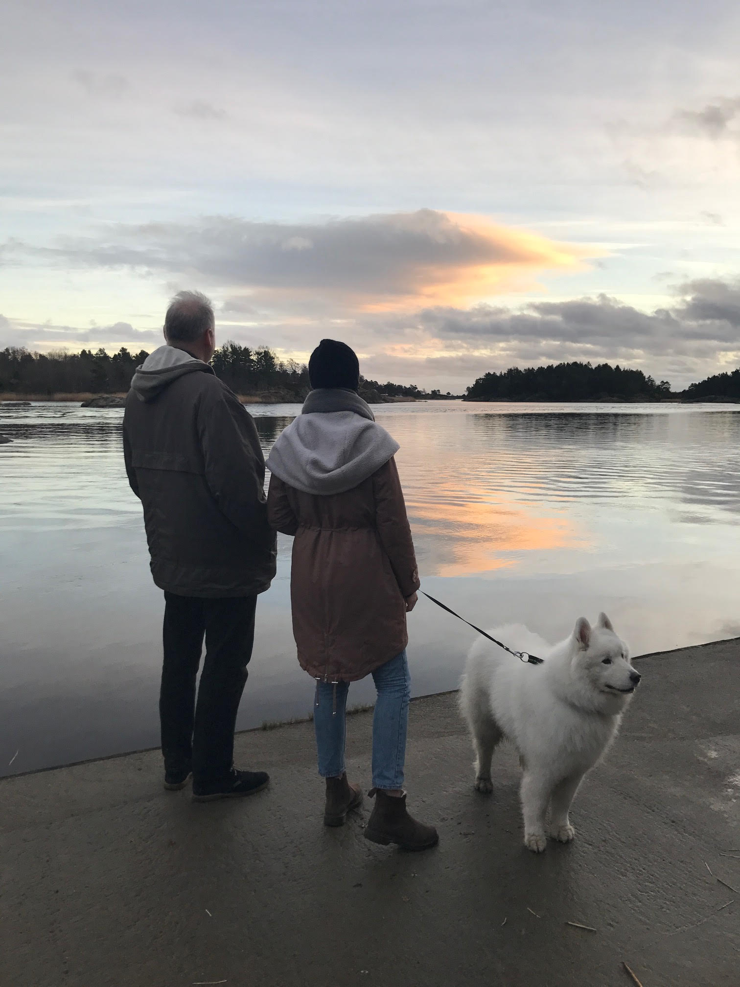 A little snapshot of my dad, our family dog and I from over the holidays, trying to catch a glimpse of some of the local seals.