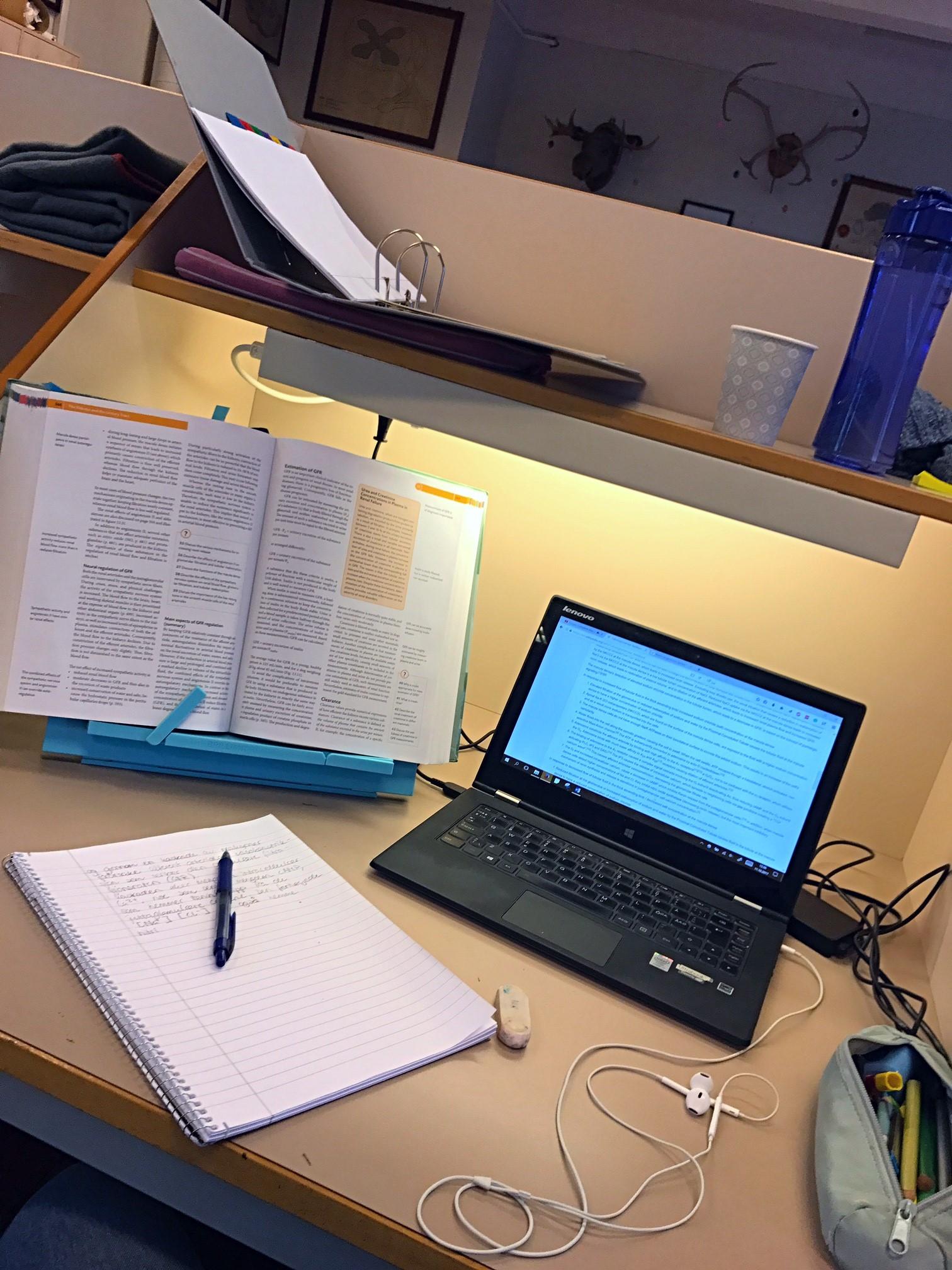 My usual study hall setup.