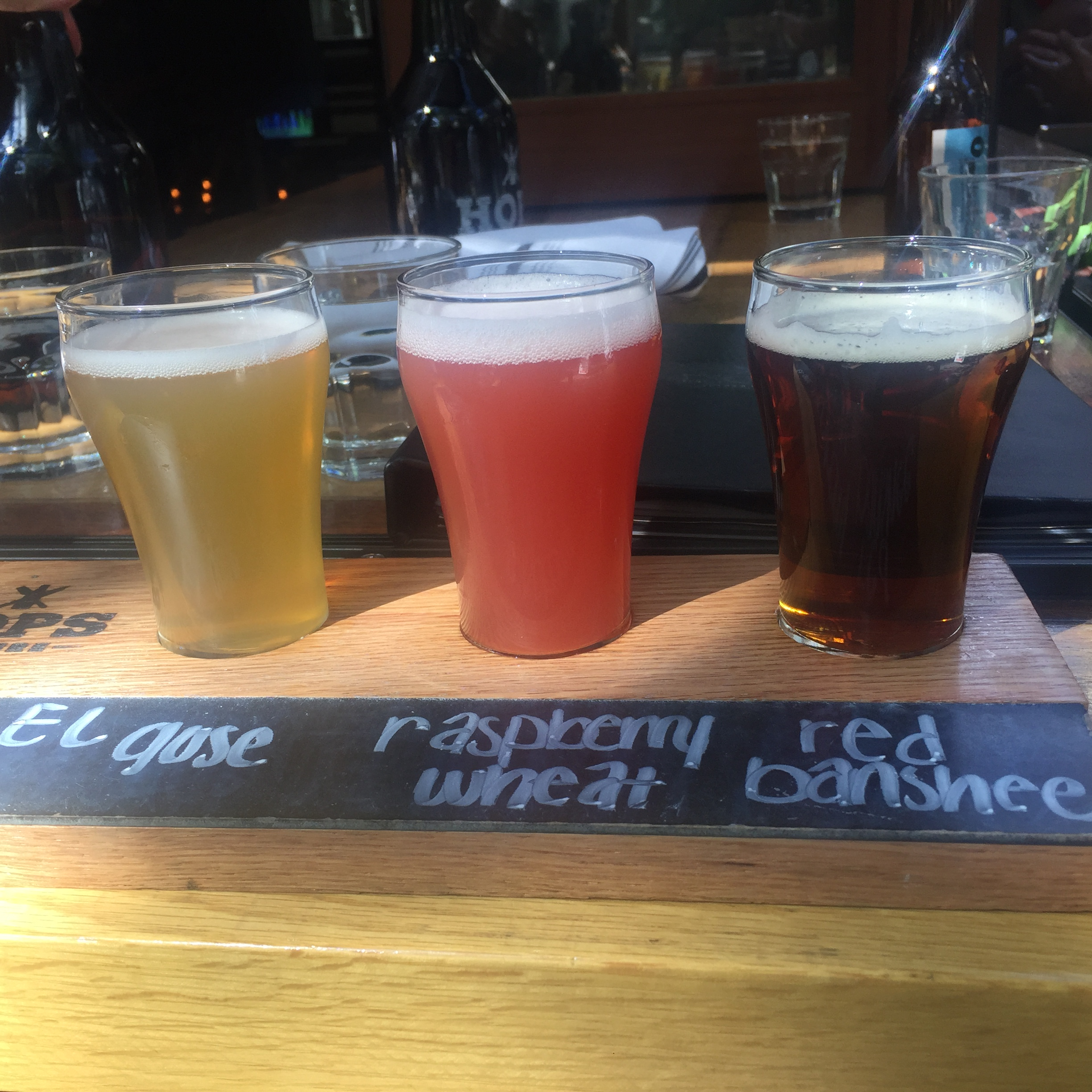 beer flight at HOPS