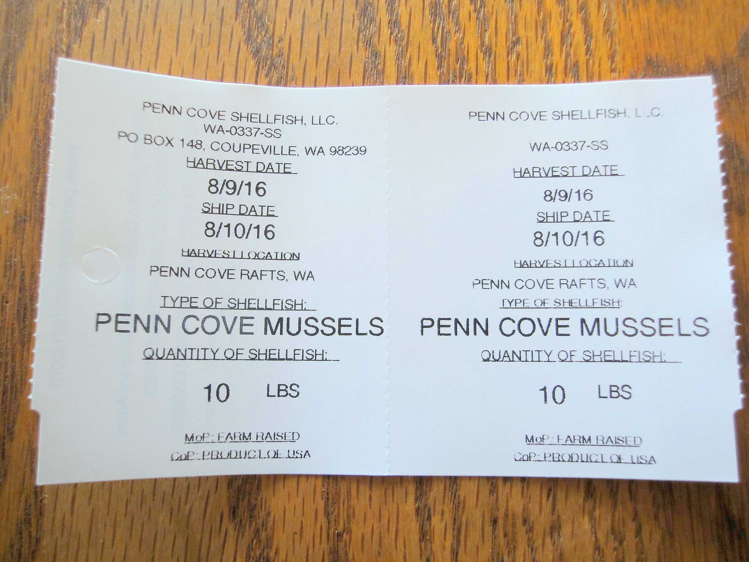 Penn Cove Mussel Tag