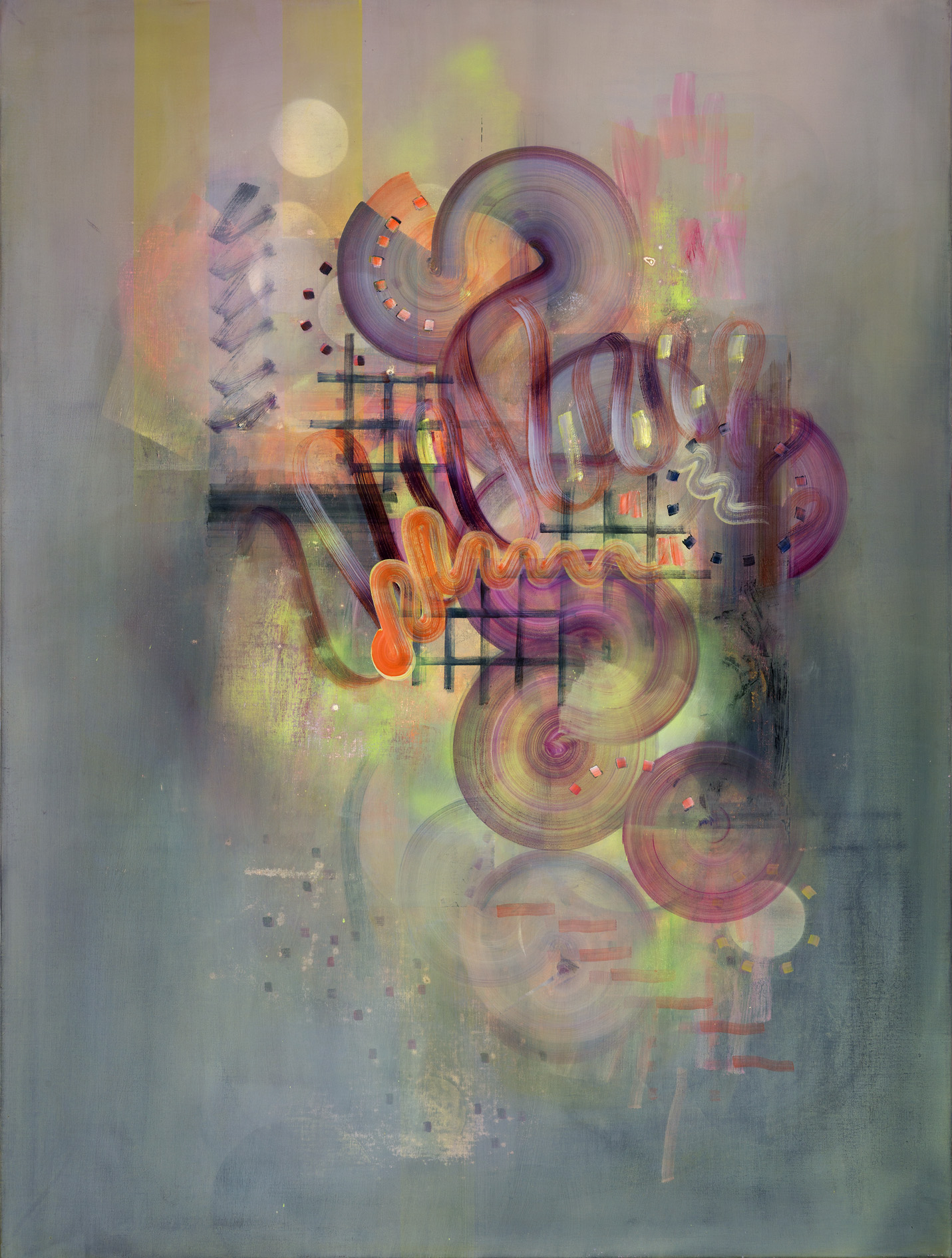 Baseline, 120cm x 90cm, oil and spray paint on linen, 2016