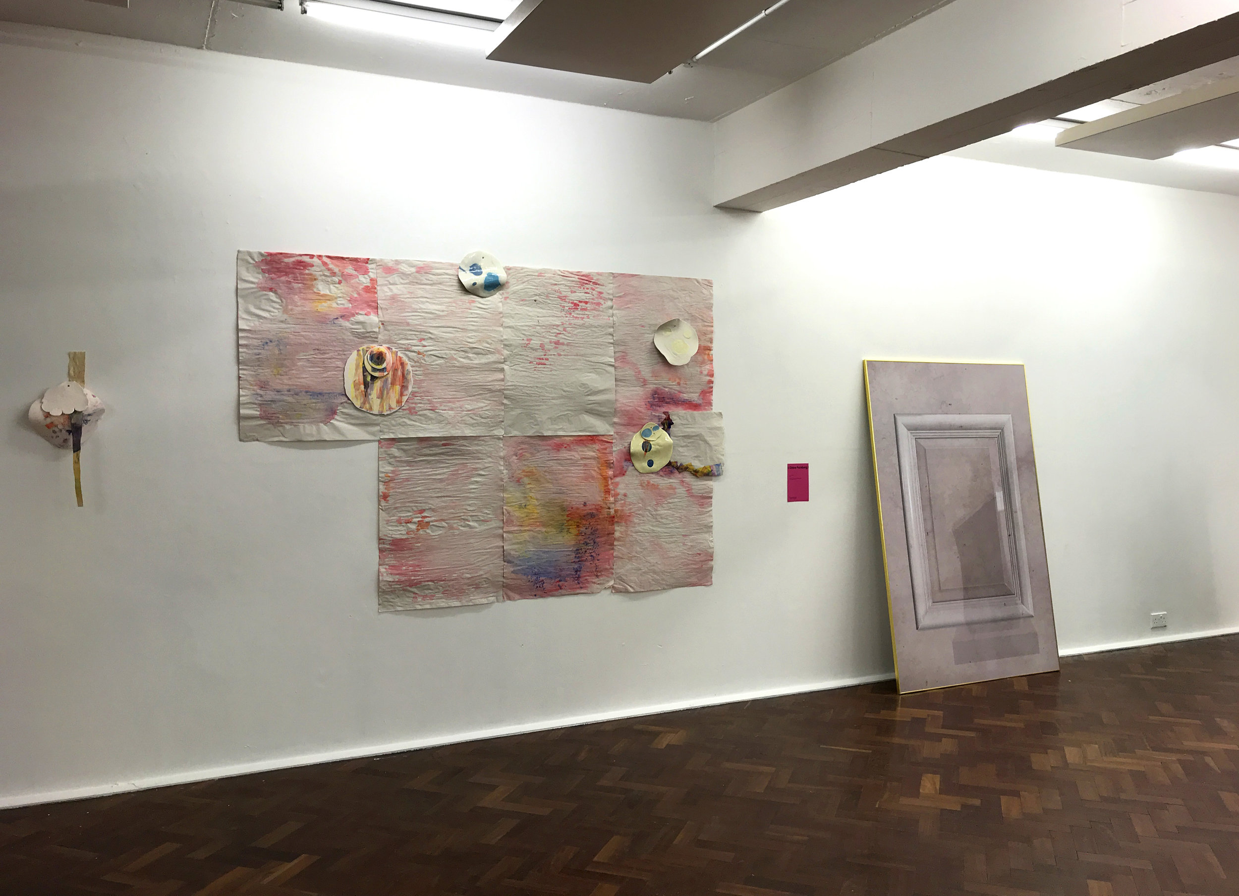 Installation for London Creative Network, SPACE, Mare St, London, March 2018, paper, watercolour, oil paint, digital transfer, glazed and unglazed porcelain