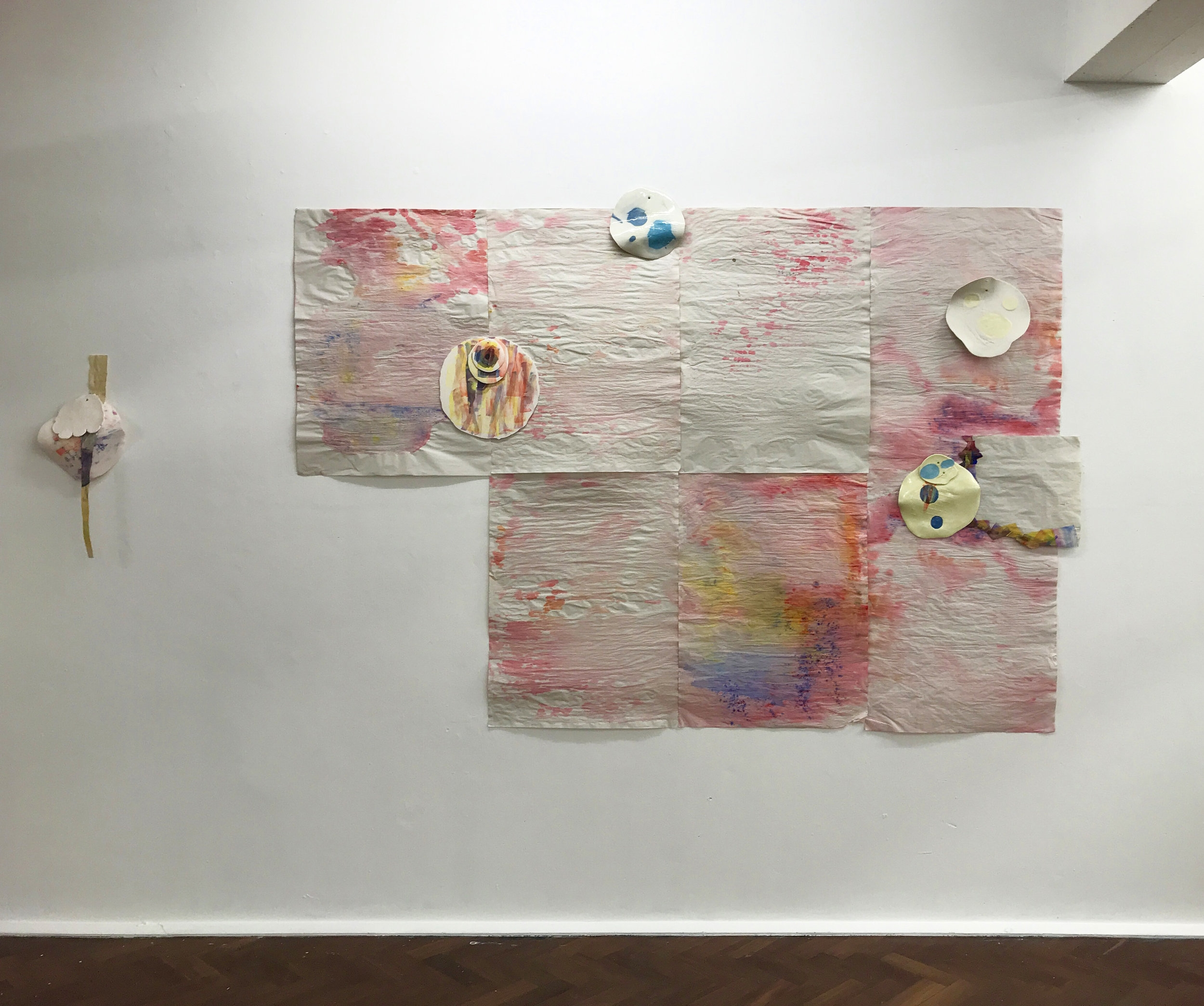 Installation for London Creative Network, SPACE, March 2018, watercolour on paper, oil paint, digital transfer, glazed and unglazed porcelain