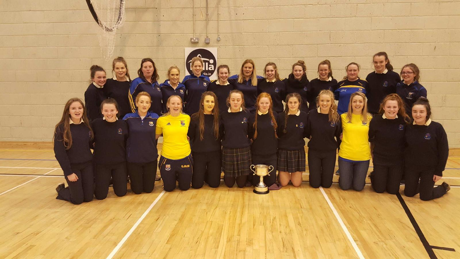 Longford Ladies with Mercy Ballymahon students celebrating All Ireland win