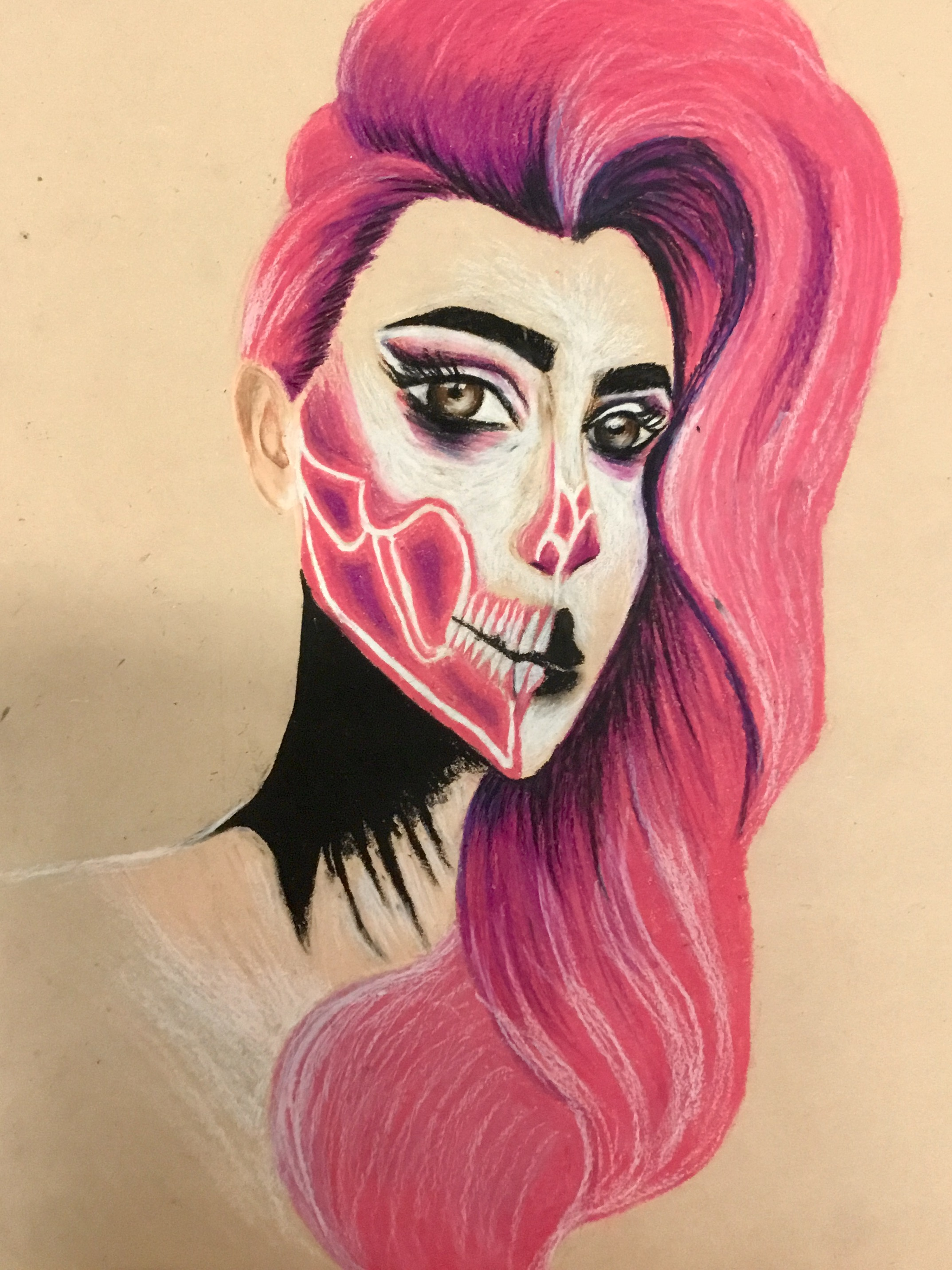 Cathy Kelly 3rd year art student with a fantastic oil pastel drawing of Skulltress. Cathy used vivid colours to create this excellent dramatic piece of art.