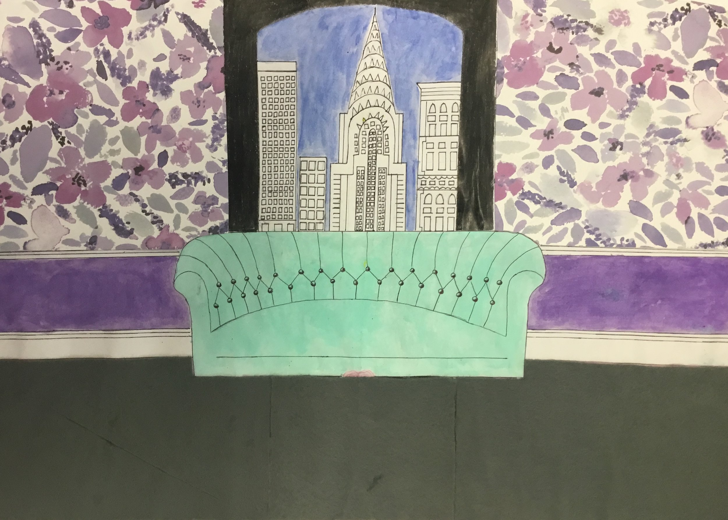 "Brona Cox 3rd year art student ""The Next Chapter"". Brona created a beautiful piece of artwork an interior of an apartment in NYC. Using colouring pencils felt tip pen & felt to create a fantastic piece of artwork."