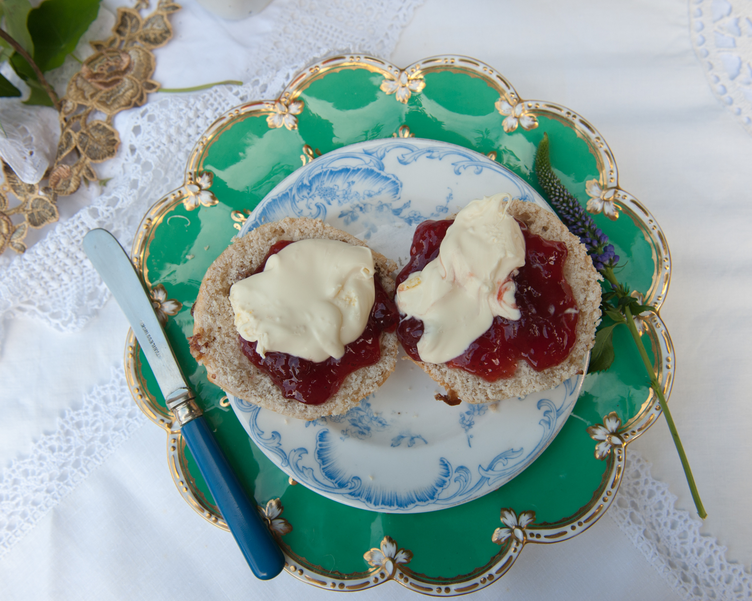 Vintage saucers and cream tea.