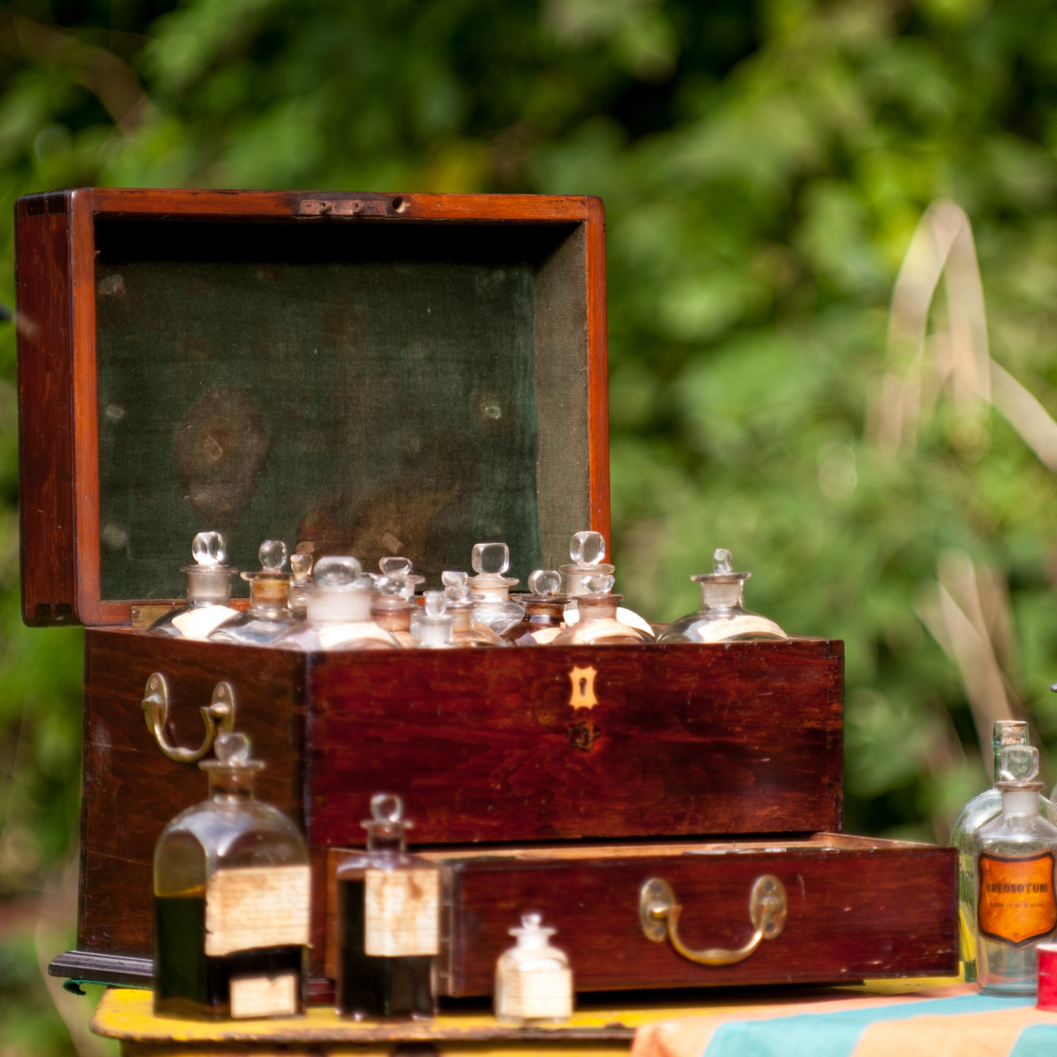 Antique apothecary set - with original medicines still in bottles