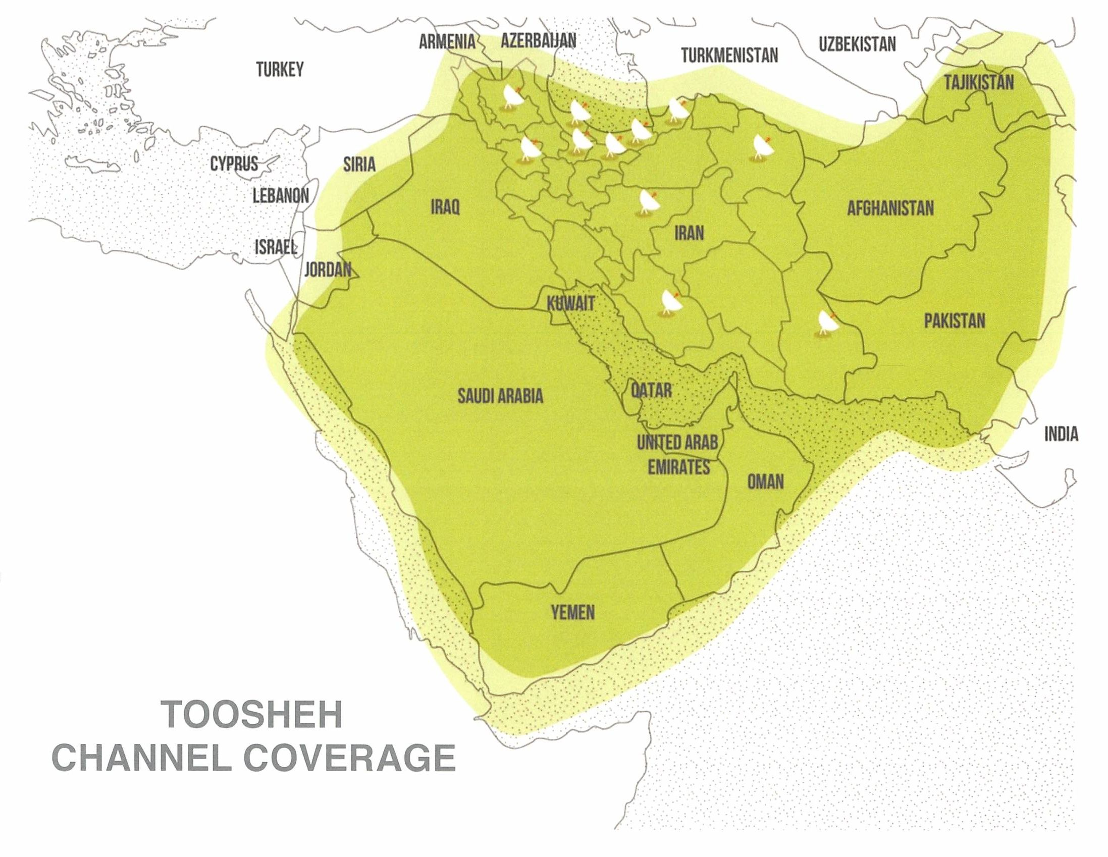 Toosheh Channel covers the majority of the Middle Eastern region.