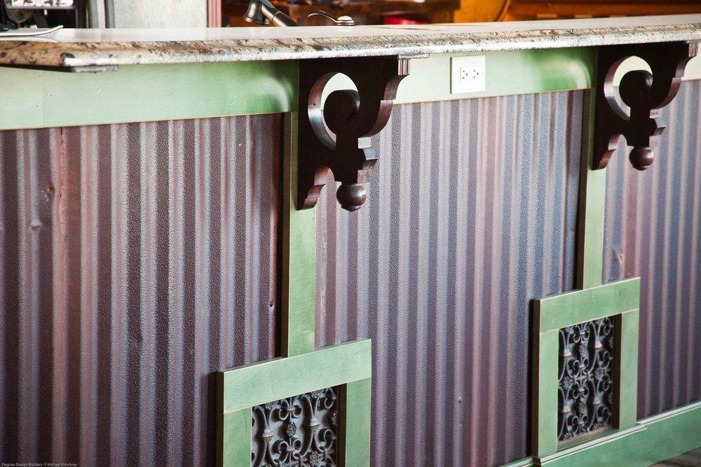 Reclaimed Hardwood Kitchen Island Countertop With Corbels