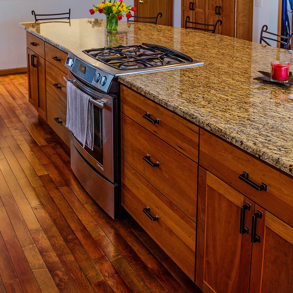 Rustic Hardwood Kitchen Floor With  Exposed Cut Nail Heads