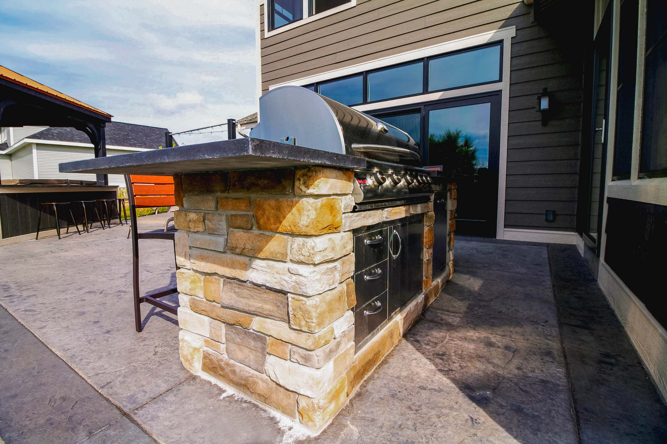 Luxury Patio with Built-In Outdoor Grill