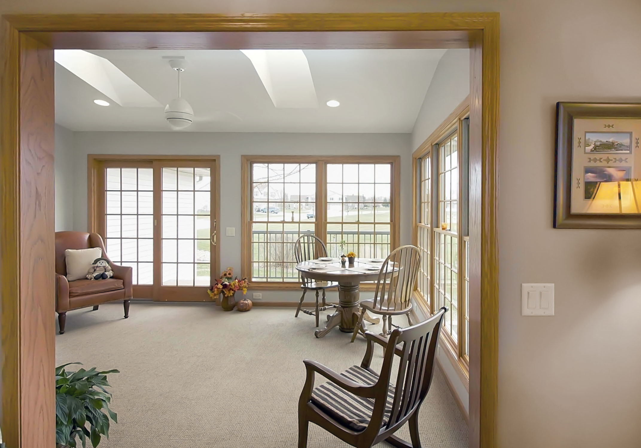 Oak Woodwork, large wood framed Windows and Skylights