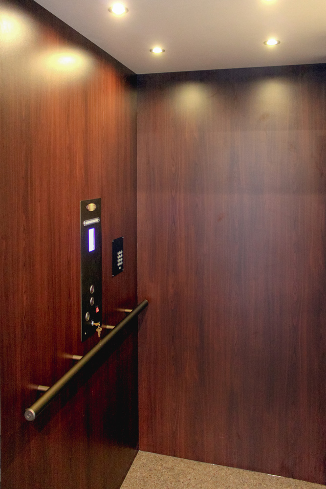 A Two Story elevator Provides Lower Level Access