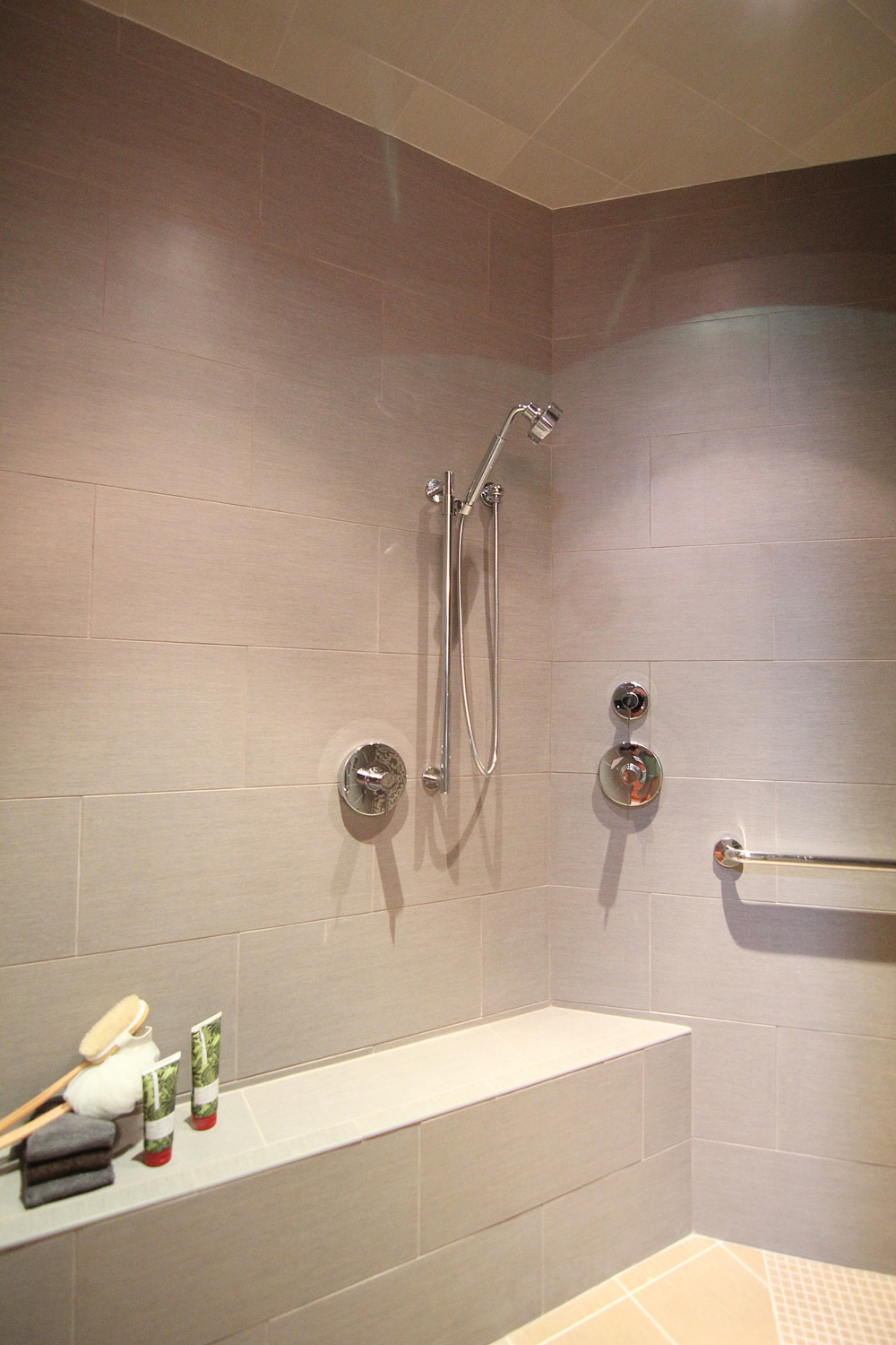 Walk In Shower with oversized Tile Walls