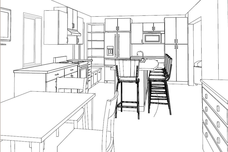 3d Illustration of a Kitchen Design - Degnan Design-Build-Remodel
