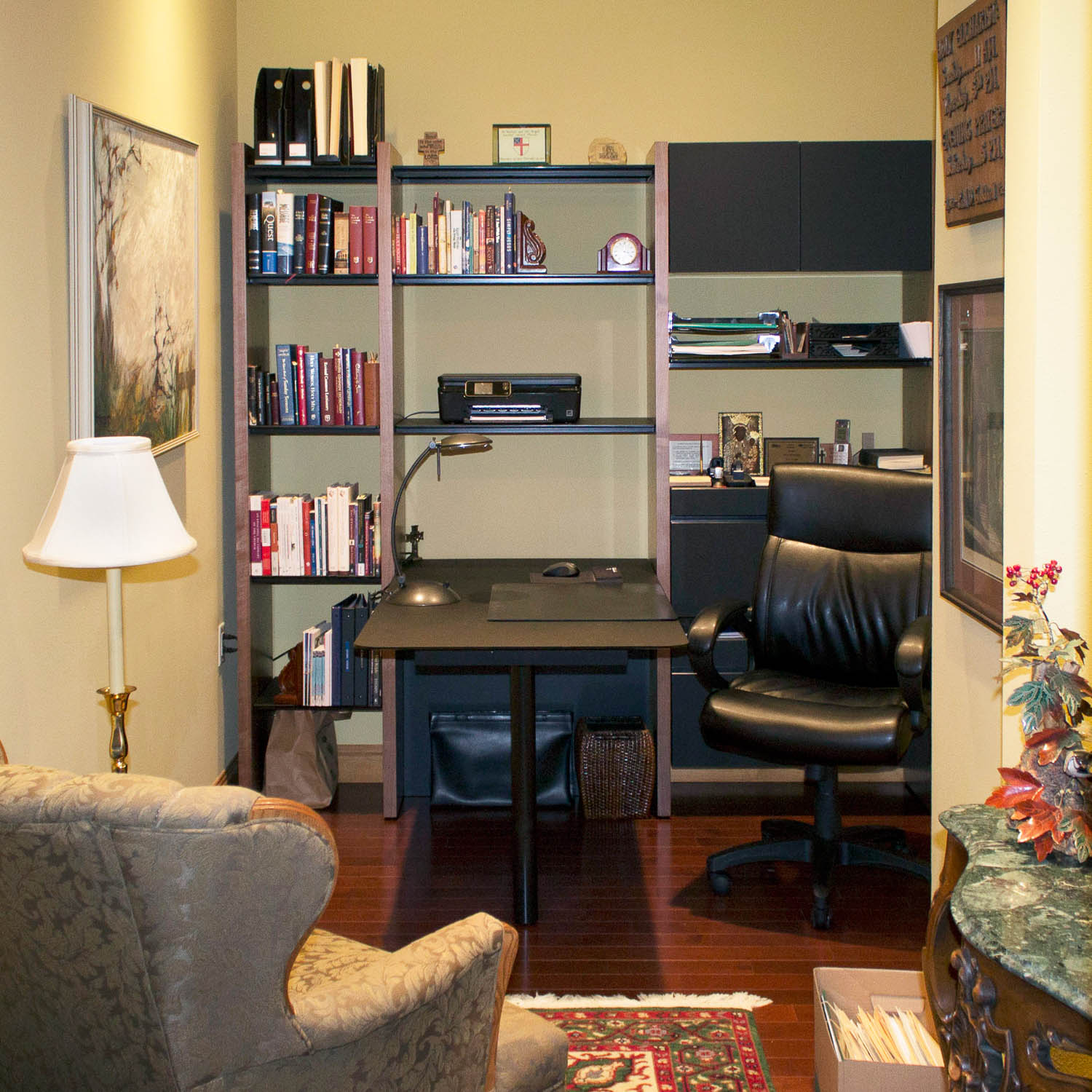 - This nook office resides just off the foyer. Click through to the project page for a video tour explaining how we created a home office space in this condo.