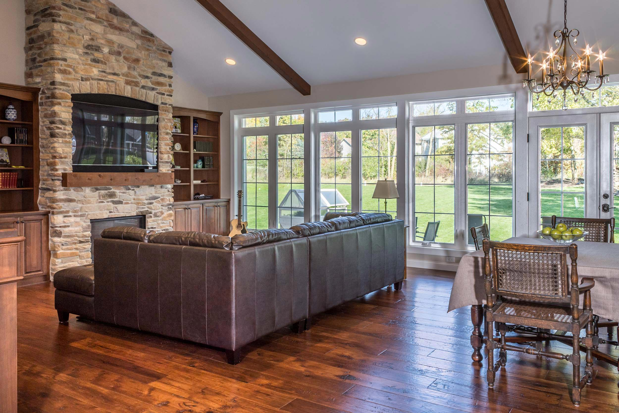 """7 ½"""" Wide Pre-finished Engineered Hardwood In English Pub Hickory With Applejack Stain Color"""