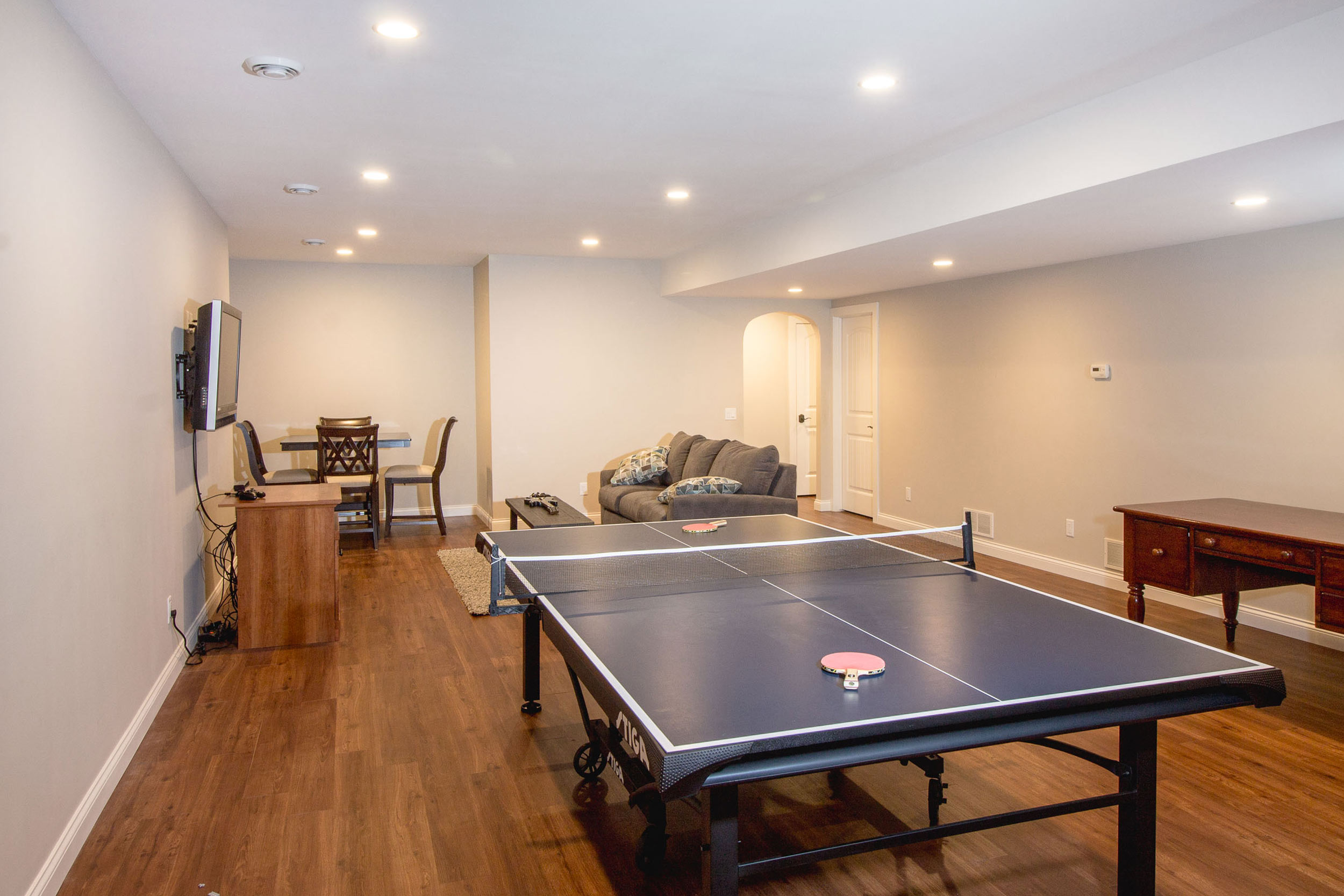 A Finished Basement With A Vast Family Room