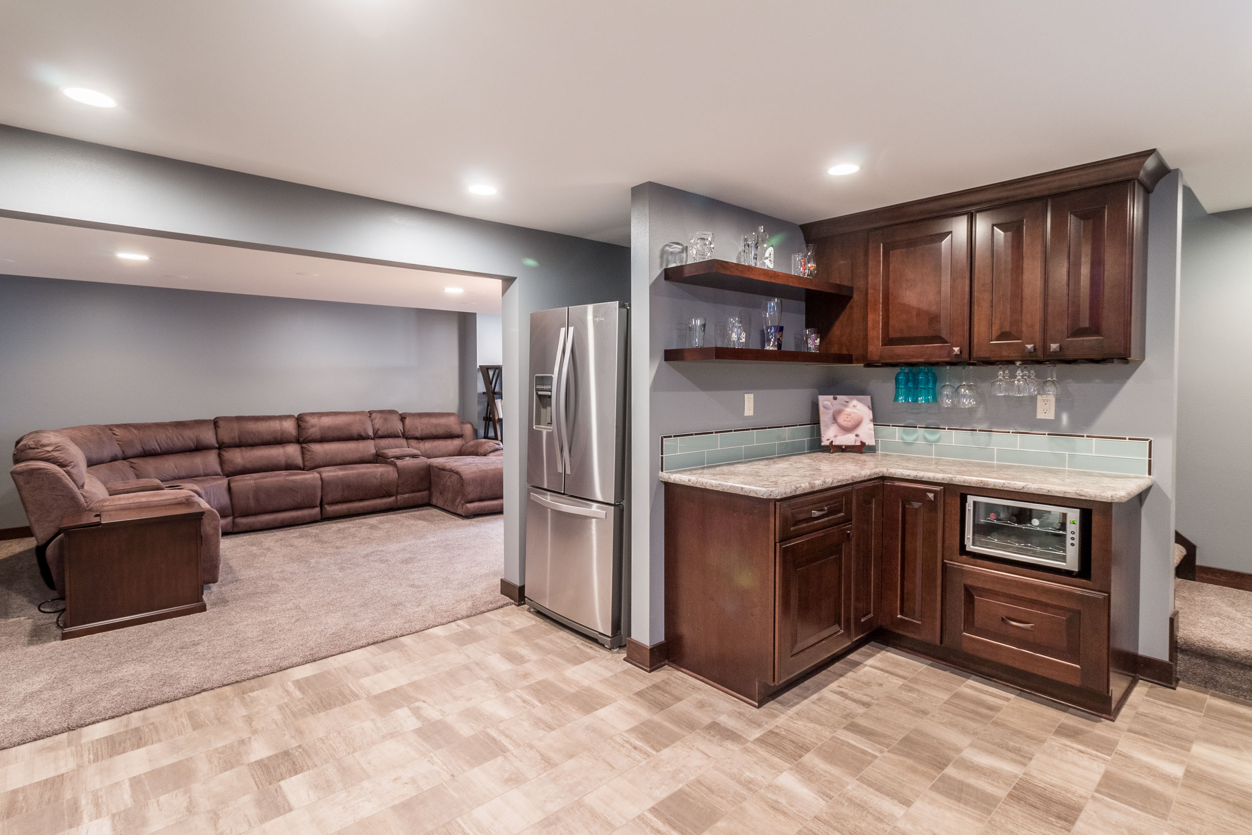 Basement Bar area with Wine Chiller and Refrigerator
