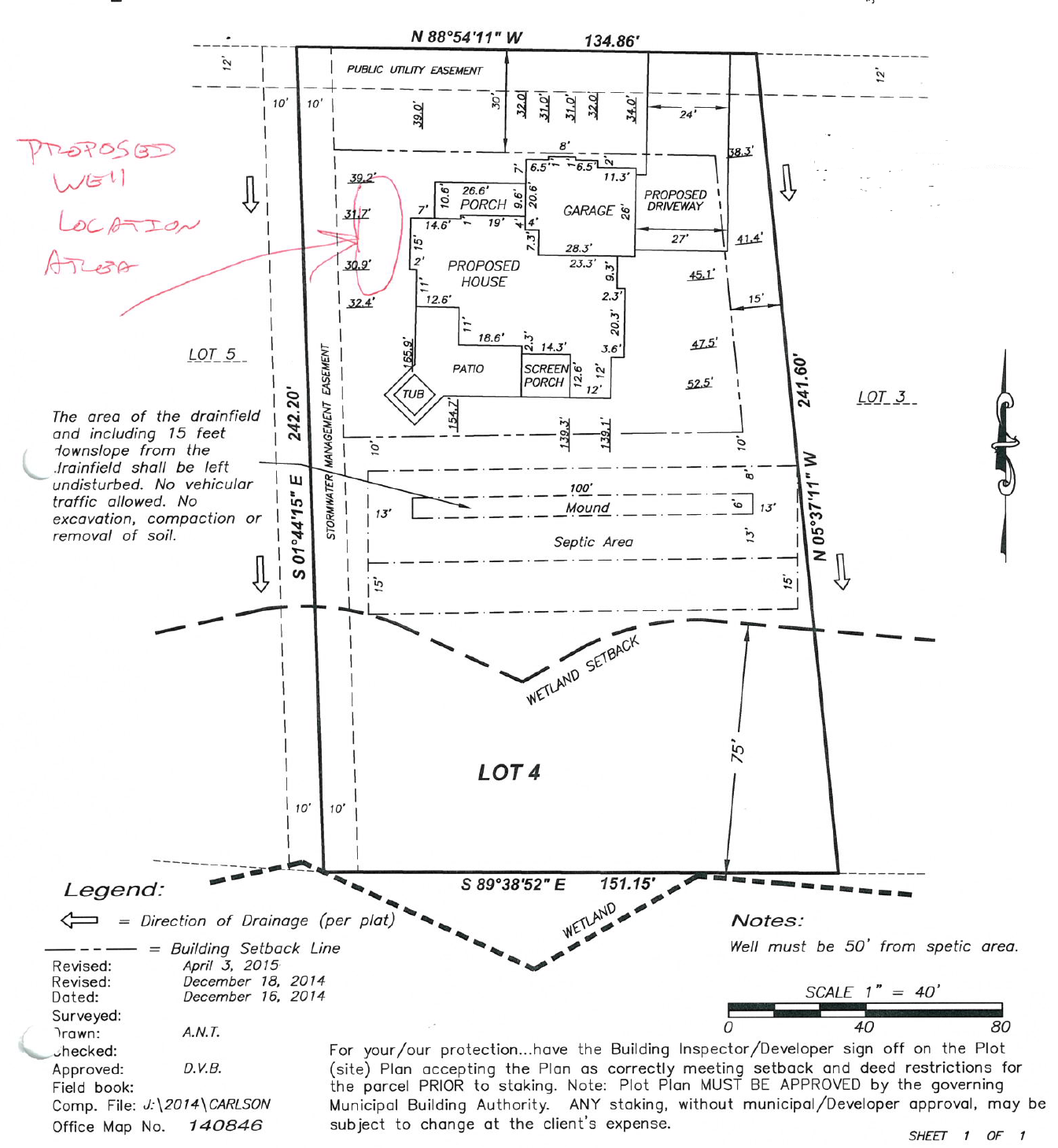 New Home Site Plan - This new home site plan, completed by a licensed surveyor, shows critical markings such as wetland setbacks, septic and mound system drain fields, and the exact location of the house. Note that the exact well location need not be officially notated and has been drawn in by hand in this site plan.