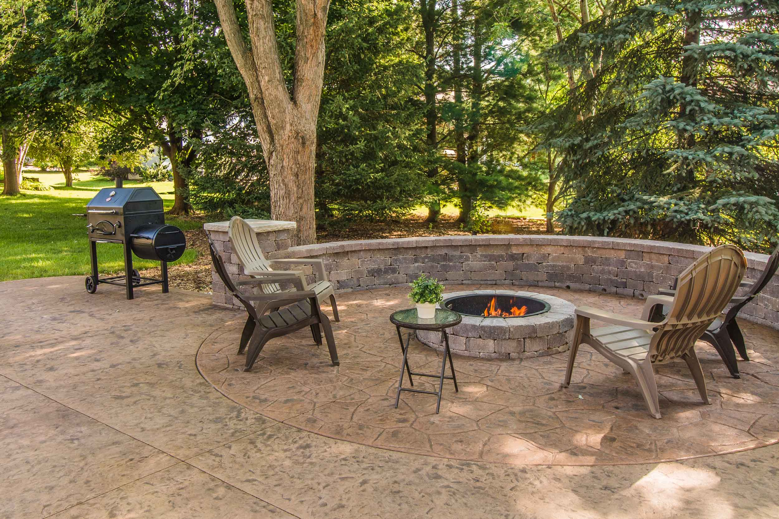 Firepit and Stamped Concrete Patio Design DeForest, WI