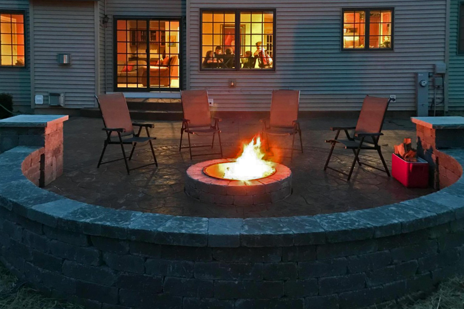 Outdoor fire pit installation in Madison, WI