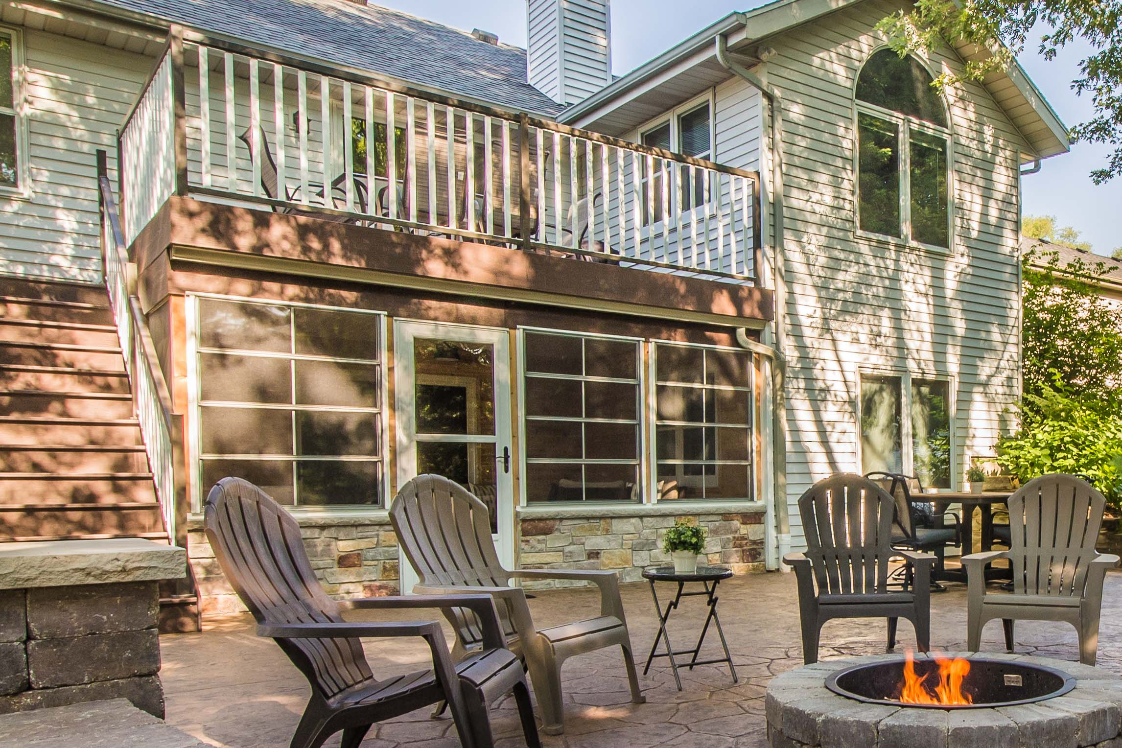 - A fire pit and patio can be the perfect way to unite the family on a summer eve.