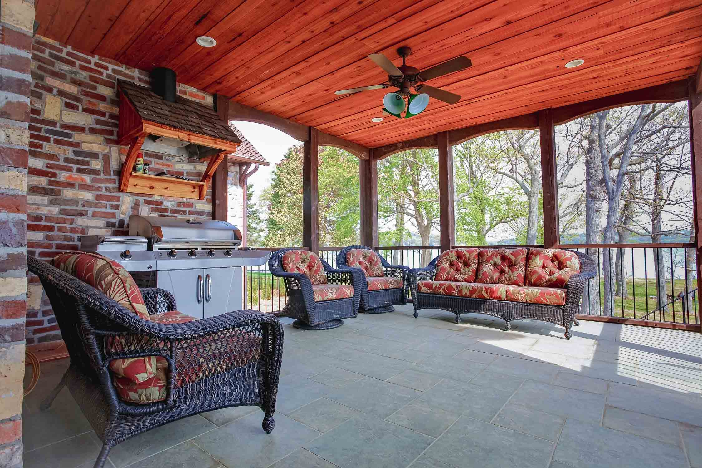 - This screened porch includes a grilling station, with a vent hood, for sheltered grilling available rain or shine.