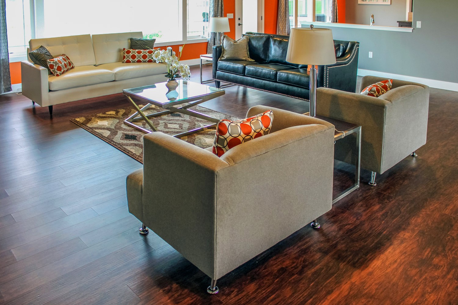 - A universal design living room will allow plenty of space around the furniture. Other considerations will include how the homeowner is able to sit, stand, transfer, and access their preferred seating position.