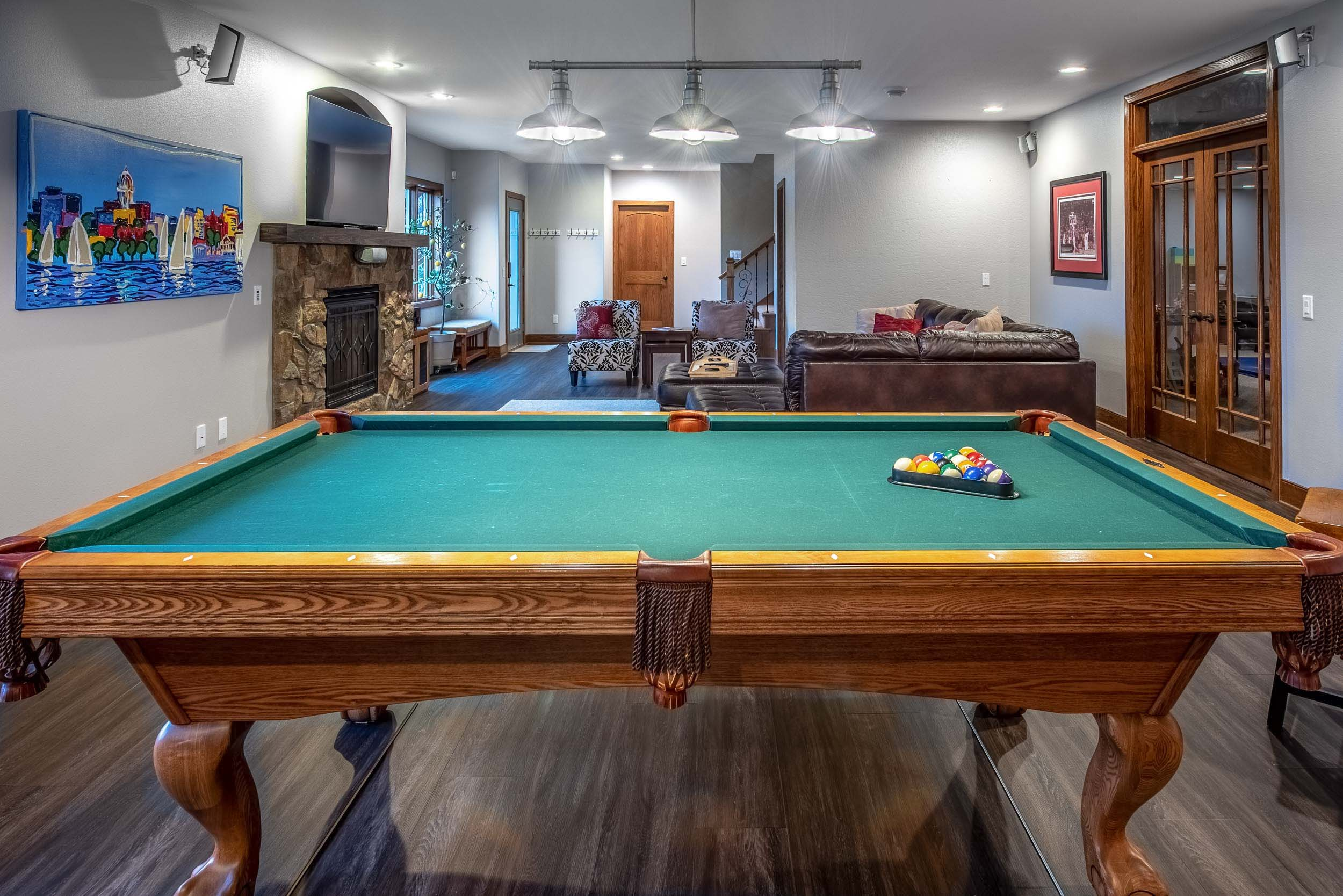 This Large Finished Basement Has Room For A Pool Table