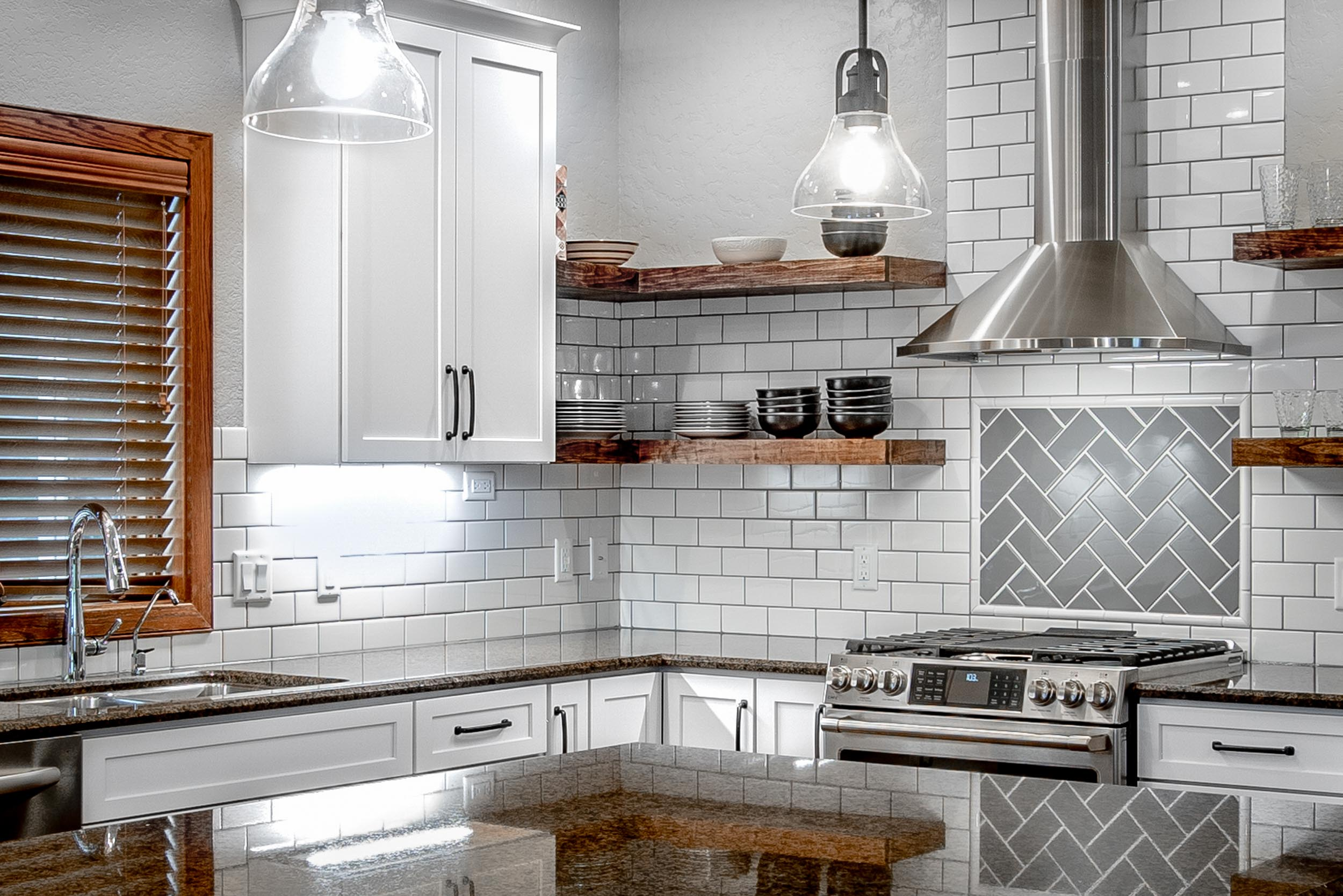 "3"" X 6"" Subway Tile Kitchen Backsplash in White and Gray"