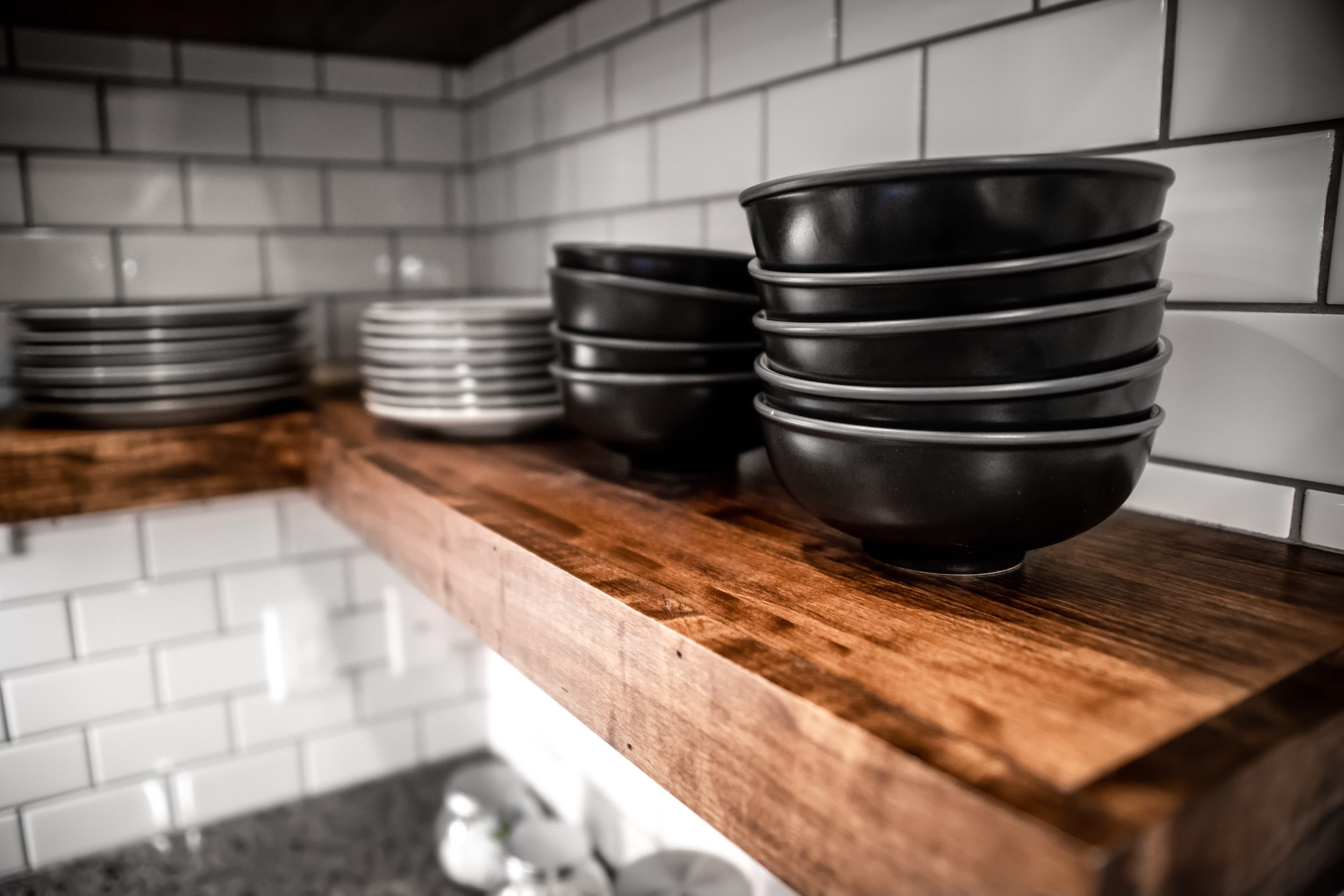 Reclaimed Wood Shelving and Tile Backsplash