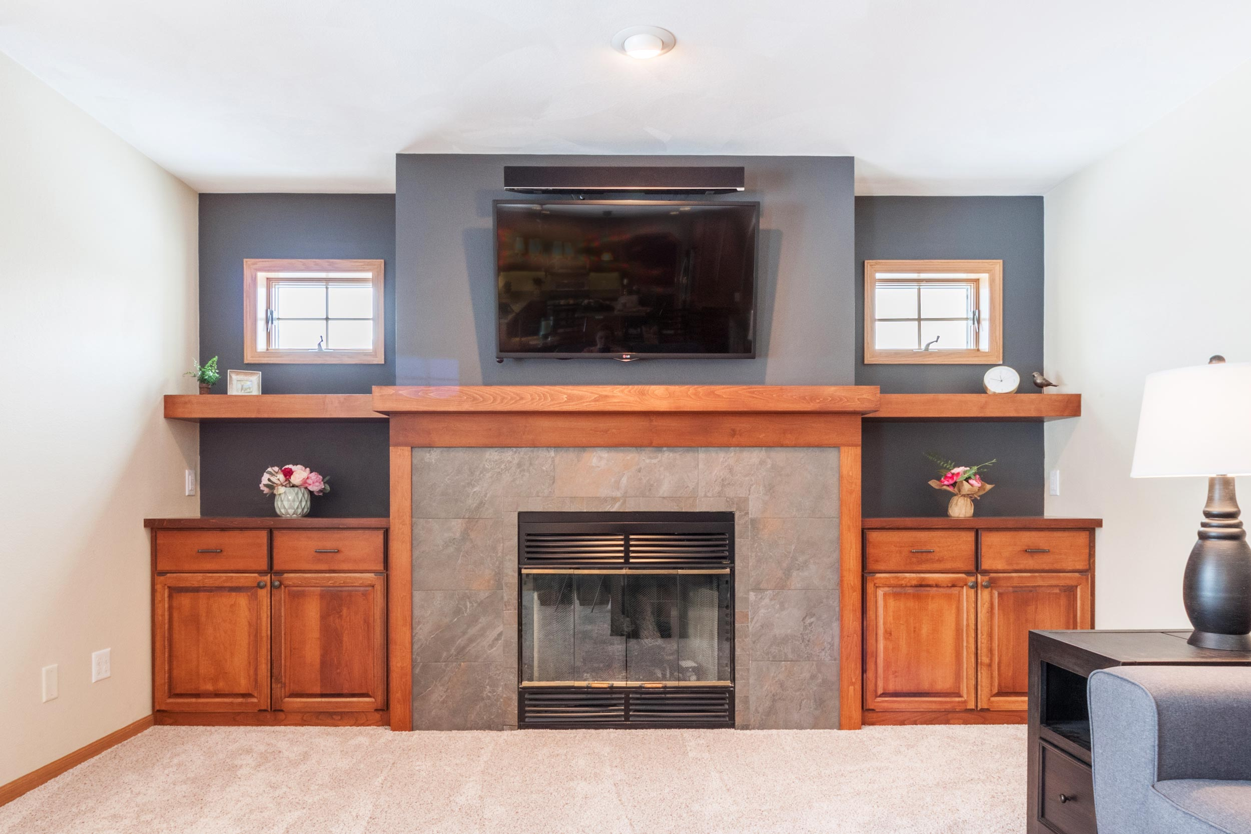 Craftsman Style Built-in Living room cabinets, and fireplace mantle.