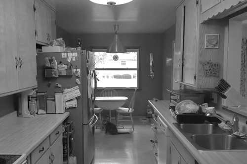 Before Image: Dated Walkthrough Kitchen - Click to view photos of the completed project.