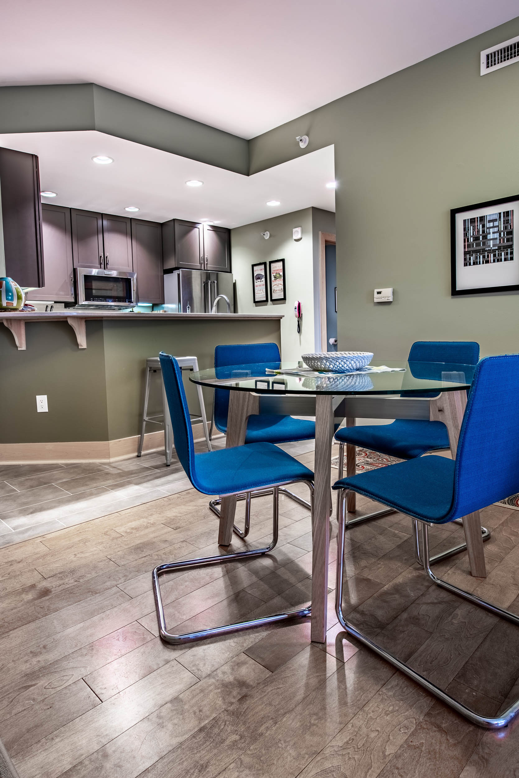 The kitchen paint colors include Sherwin Williams Sage, Avocado and High Reflective White for the ceiling.