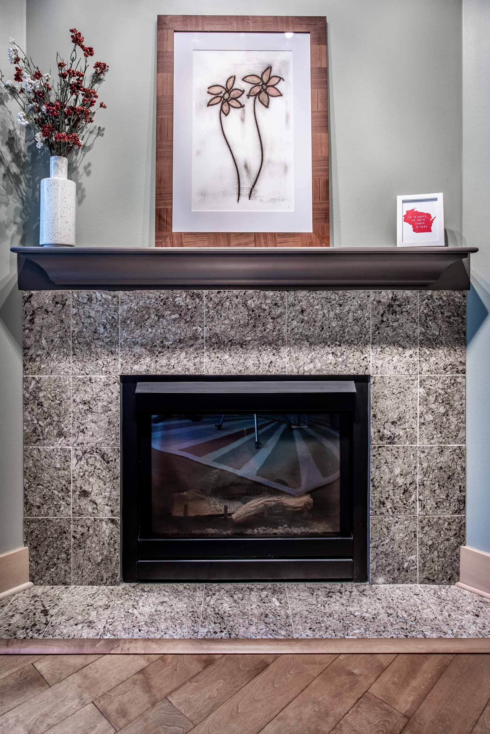 This condominium has a gas fireplace. Updated paint colors create a new feel.