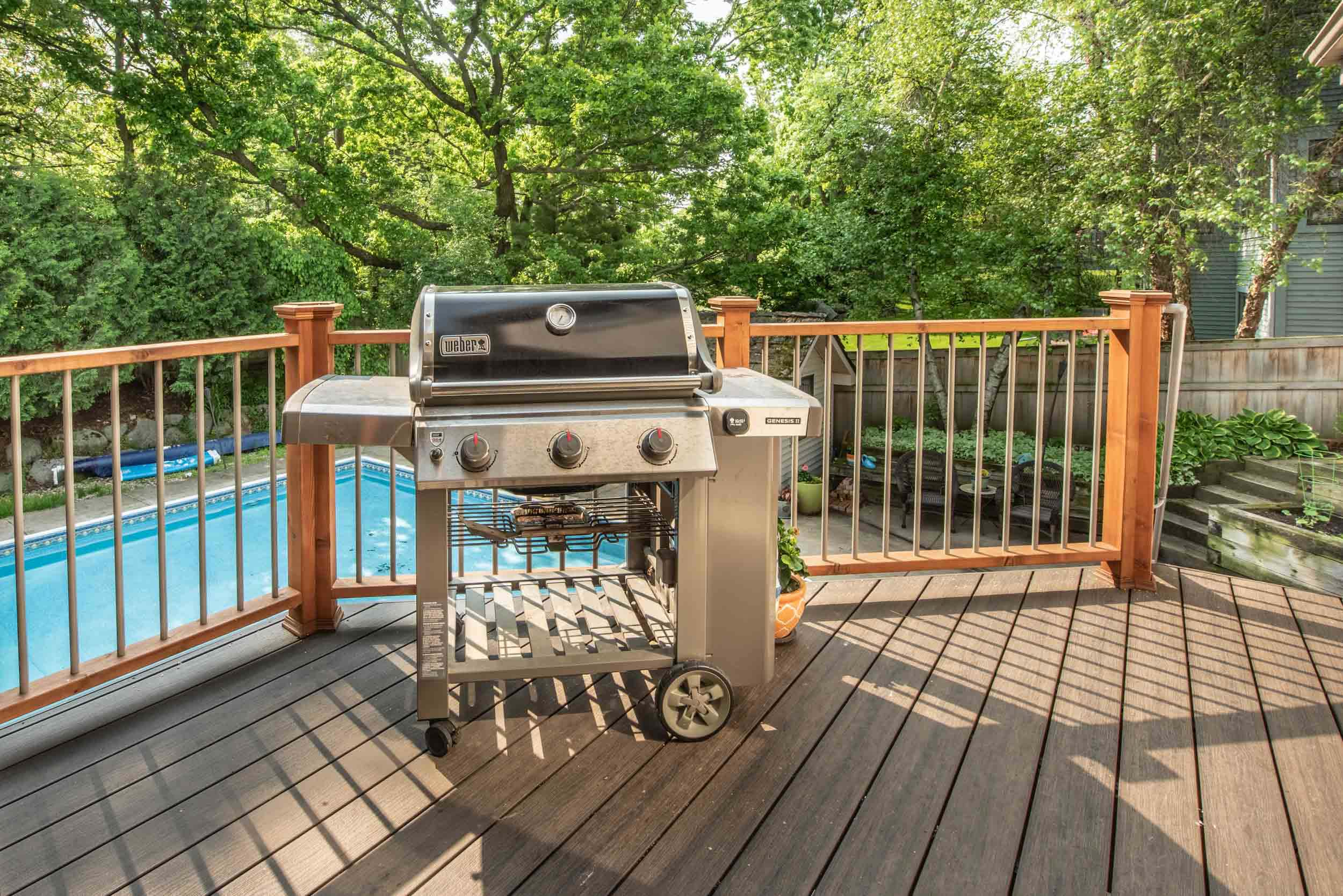 A grilling deck was placed outside the screened area.