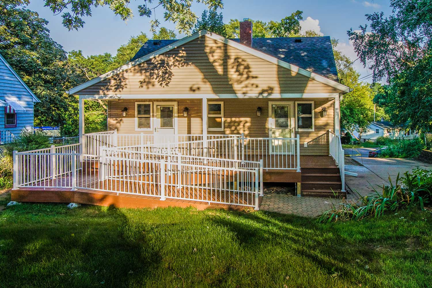 - This Cape Cod, also featured in the header photo, was remodeled for ADA-Accessibility including a ramped back porch entrance, revised kitchen layout, and barrier-free shower.