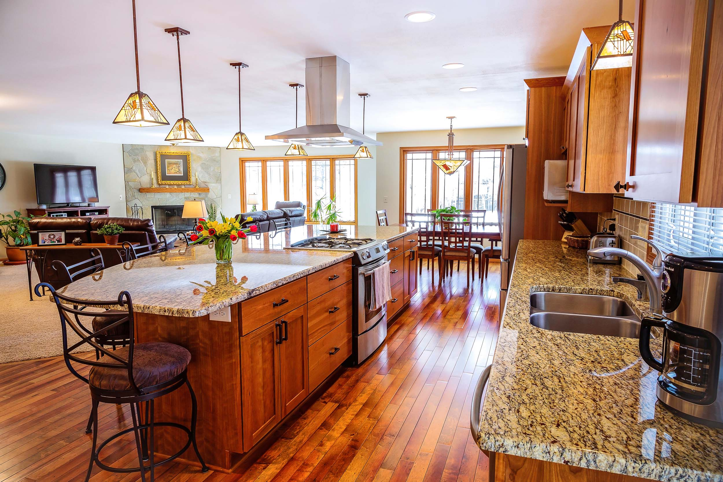 - This remodeled kitchen in Cottage Grove, WI removed walls that separated the kitchen from the dining and living areas. The kitchen is now bright, and also connected to the best parts of the home.