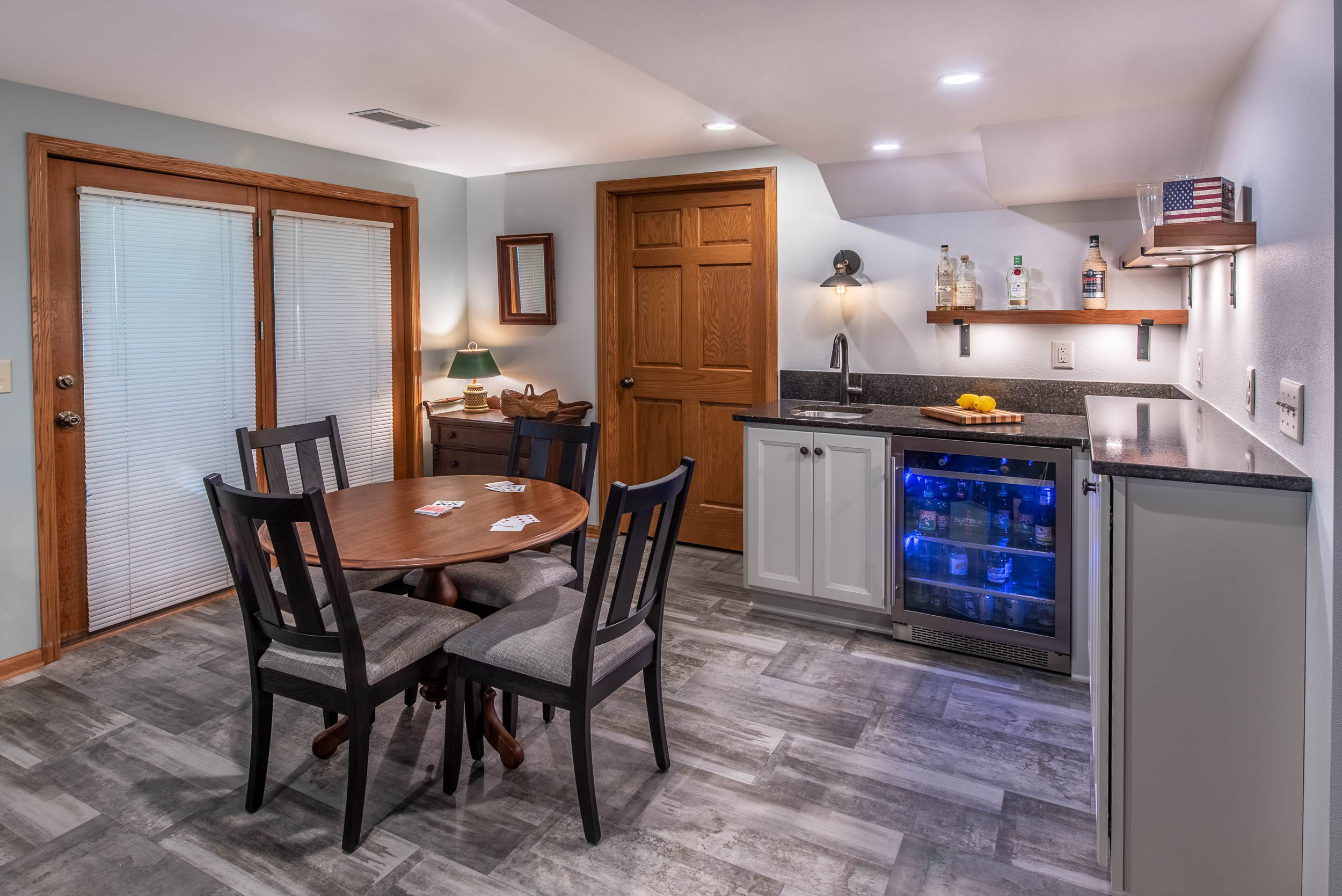 The Bar Has a Built In Beverage Center For Entertaining.