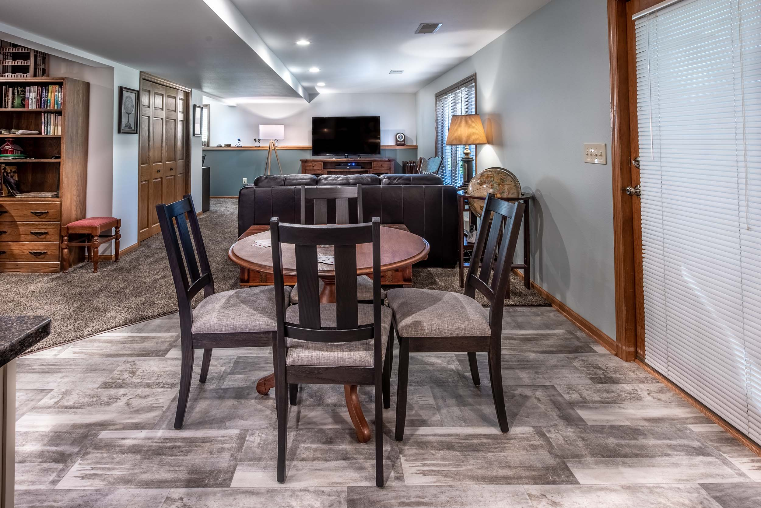 Flooring In The Basement Bar Area Is Platinum Luxury Vinyl In The Color, Patina Carbon.
