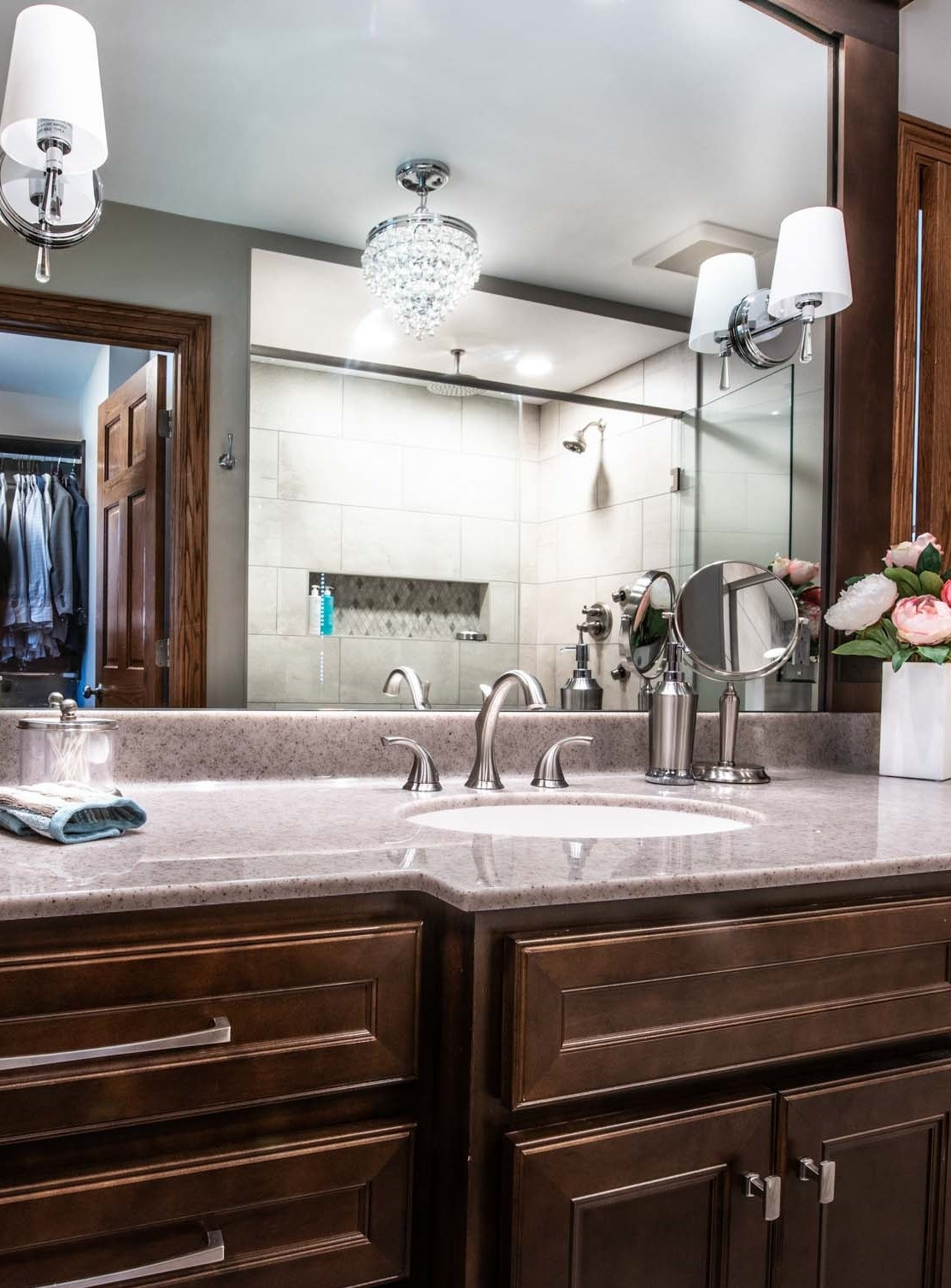 """The flooring Is 18"""" x 18"""" Luxury Vinyl Tile tile By Adura Flex In Century Mineral with Adura Luxury Grout in Pewter."""