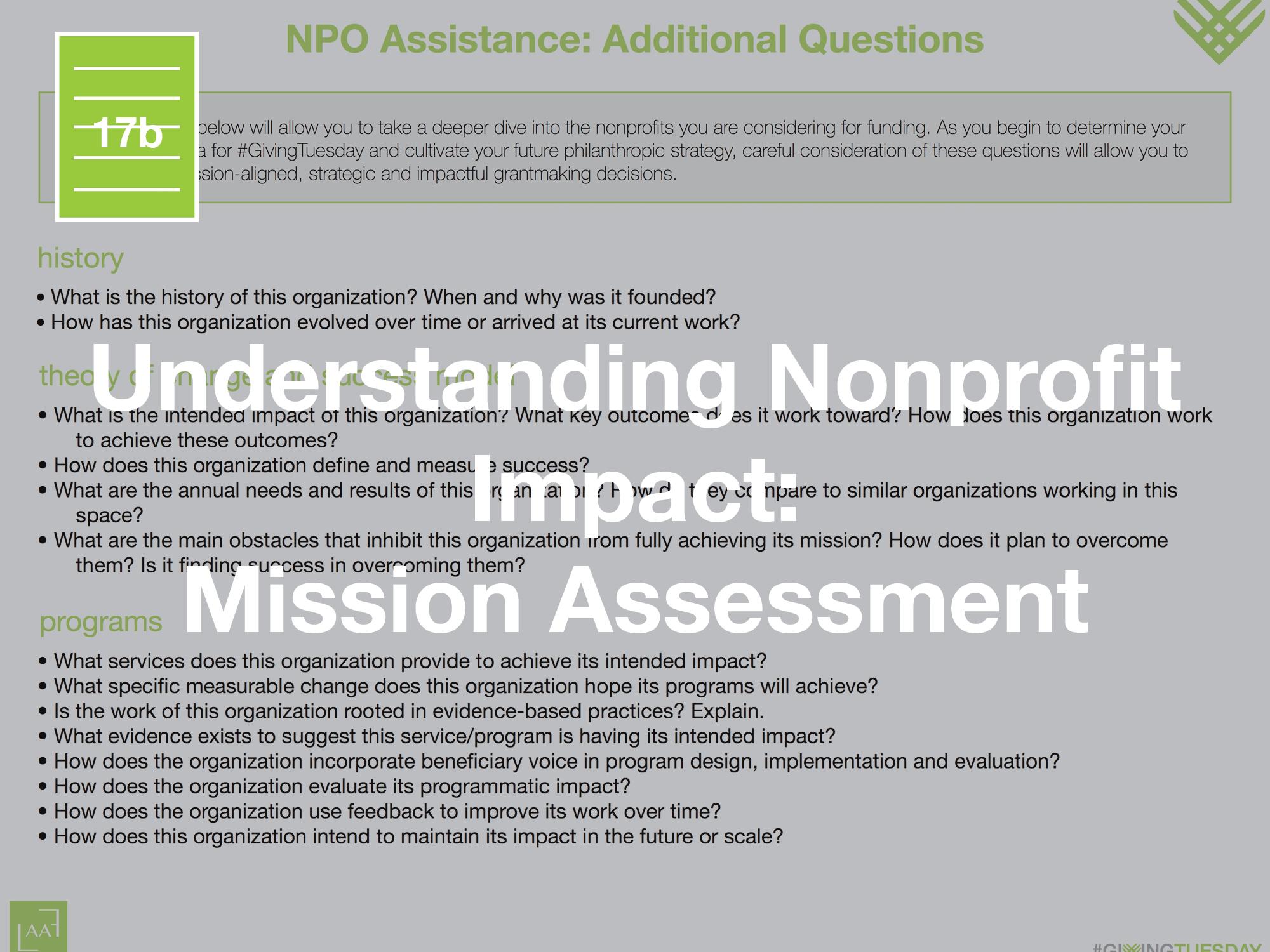 Understanding Nonprofit Impact: Mission Assessment