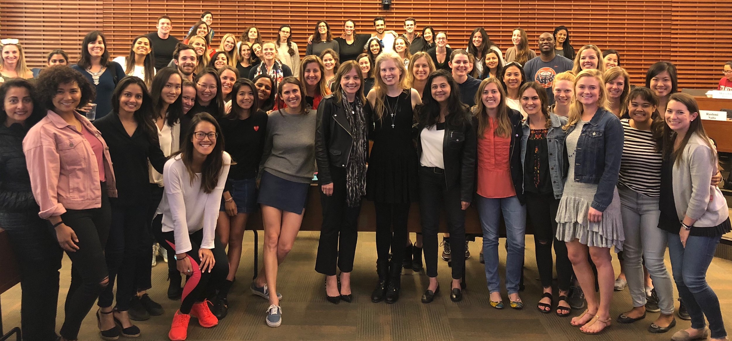 LAAF.org Founder and CEO Laura Arrillaga-Andreessen pictured with her amazing Power of You: Women in Leadership students at Stanford Graduate School of Business with General Motors Chair and CEO Mary Barra
