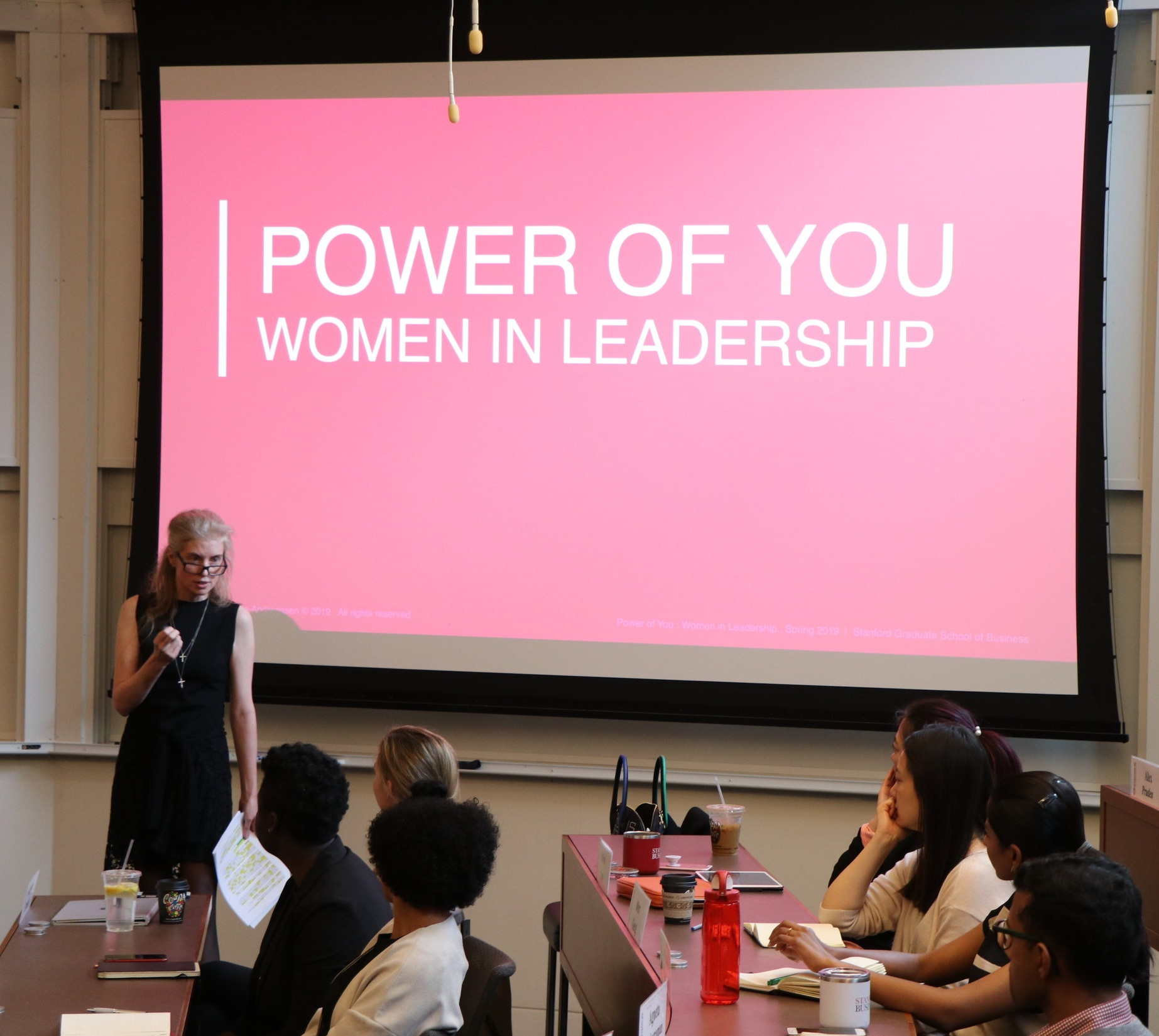 Laura Arrillaga-Andreessen teaching her Stanford Graduate School of Business course, Power of You: Women in Leadership, meant to empower and inspire the next generation of leaders.