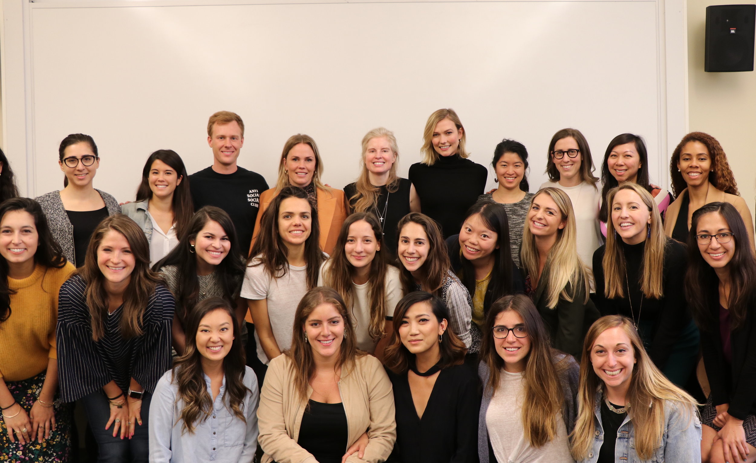 Karlie Kloss and Penni Thow with Laura Arrillaga-Andreessen and her Power of You: Women in Leadership students