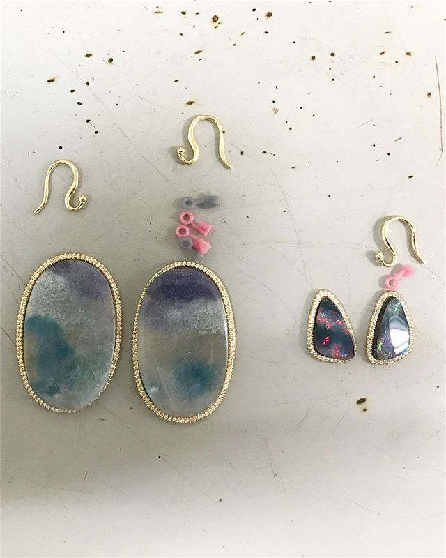 New earrings in the works, nothing better. #ParaibaOpal and #BoulderOpal ————————————————————————#madebyhand #artisanjewelry #madeinlosangeles #gold #jewelry #finejewelry #diamonds