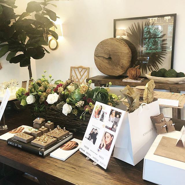 "Super host @lexielley of @textures_interior_design hosted another gorgeous ""pop up"" and cocktail party for Octavia Elizabeth. Great to see some return clients and meet new ones! ————————————————————————#artisan #goldsmith #jewelrymaking #jewelry #gold #diamond #puremichigan #flowers #interiordesign"