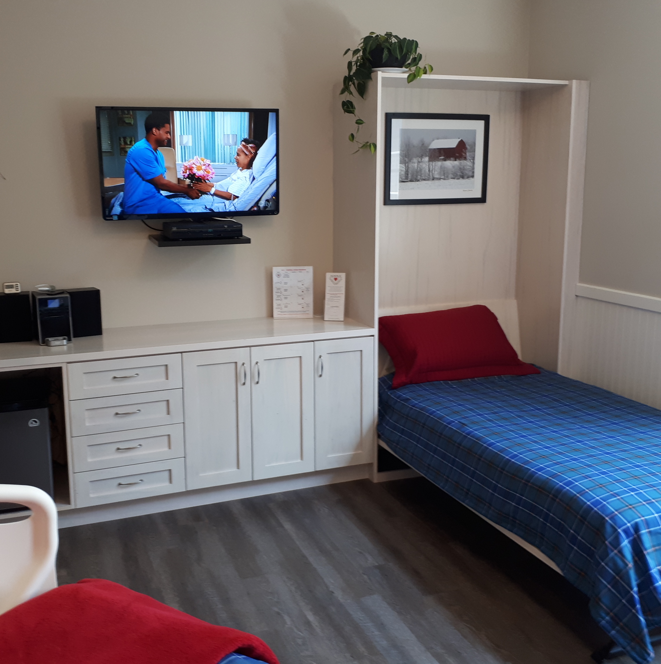 In-room Murphy bed for staying overnight with your loved one